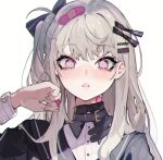 1girl bandaid bandaid_on_finger bangs blush dress eyebrows_visible_through_hair eyelashes grey_hair hair_ornament hair_ribbon hairclip long_hair long_sleeves one_side_up original parted_lips pink_eyes ribbon simple_background solo u_tnmn upper_body white_background