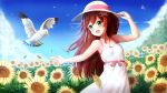 1girl :d animal arm_up armpits bangs bare_arms bare_shoulders bird blue_sky blush breasts brown_hair clouds collarbone commentary commission day dress english_commentary eyebrows_visible_through_hair field flower flower_field green_eyes hair_between_eyes hair_ornament hand_on_headwear hat highres leaves_in_wind long_hair multicolored_hair open_mouth original outdoors prophosphere redhead sky sleeveless sleeveless_dress small_breasts smile solo streaked_hair summer sun_hat sundress sunflower very_long_hair white_dress white_headwear yellow_flower