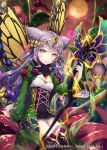 1girl bangs black_legwear blue_hair breasts butterfly_wings double_bun eyebrows_visible_through_hair floating_hair flower full_moon gabiran gradient_hair grey_eyes hair_between_eyes hair_flower hair_ornament heterochromia holding holding_staff long_hair looking_at_viewer moon multicolored_hair official_art parted_lips red_sky shinkai_no_valkyrie silver_hair sitting sky small_breasts solo staff thigh-highs very_long_hair waist_cape wings yellow_eyes yellow_flower yellow_wings