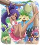 1girl absurdres alolan_exeggutor alolan_form armpits arms_up barefoot clouds commentary_request dark_skin day eyelashes gen_3_pokemon gen_5_pokemon gen_7_pokemon hair_tie hanging haxorus highres hydreigon iris_(pokemon) long_hair looking_at_viewer open_mouth outdoors pokemoa pokemon pokemon_(creature) pokemon_(game) pokemon_bw2 purple_hair sky soles teeth tied_hair toes tongue upper_teeth wailord water