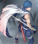 1boy absurdres bangs blue_eyes blue_gloves blue_hair blue_pants blue_shirt cape chrom_(fire_emblem) falchion_(fire_emblem) fire_emblem fire_emblem_awakening from_above from_behind gloves highres looking_to_the_side muscle open_mouth pants pretty-purin720 sheath shining shirt short_hair shoulder_tattoo sleeveless sleeveless_shirt standing sword tattoo torn_cape torn_clothes weapon