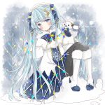 1girl absurdres bangs bass_clef beret black_legwear blue_bow blue_eyes blue_gloves blue_hair blush boots bow braid capelet character_name closed_mouth commentary_request dress eyebrows_visible_through_hair full_body fur-trimmed_boots fur-trimmed_footwear fur_trim gloves hair_bow hat hatsune_miku highres knee_boots knees_up long_hair long_sleeves looking_at_viewer musical_note_hair_ornament pantyhose rabbit_yukine sitting sleeves_past_wrists smile snow snowflake_print snowman tsukiyo_(skymint) twintails very_long_hair vocaloid white_capelet white_dress white_footwear white_headwear yuki_miku yuki_miku_(2021)