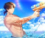 1boy abs chest clouds cloudy_sky day fate/grand_order fate/stay_night fate_(series) gun highres holding kotomine_kirei male_focus muscle one_eye_closed pectorals rijjin shirtless short_hair sky smile solo swimsuit toy_gun water water_gun weapon wet