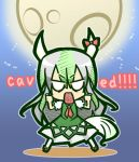 1girl caved chibi ex-keine full_body hands_up horn_ornament horn_ribbon horns kamishirasawa_keine long_hair moon open_mouth ribbon solo text_in_mouth touhou yukiduki