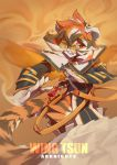 1girl absurdres animal_ears arknights chen_zhang chinese_clothes furry glasses highres kung_fu medium_hair multicolored_hair pelvic_curtain solo tail tiger_ears tiger_tail waai_fu_(arknights) yellow_eyes