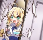 1girl ahoge artoria_pendragon_(all) bangs blonde_hair blush bowl breaking chopsticks door doorknob fate/grand_order fate/stay_night fate_(series) green_eyes jako_(jakoo21) rice_bowl the_shining