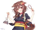 1girl :d animal_ears bag bagged_fish bangs blue_kimono blush braid brown_eyes brown_hair choker collar dakuryuu dated dog_collar dog_ears dog_girl dog_tail eyebrows fangs festival fingernails fish flower goldfish goldfish_scooping hair_between_eyes hair_flower hair_ornament highres hololive inugami_korone japanese_clothes kanzashi kimono long_hair looking_at_viewer low_twin_braids low_twintails nail_polish obi obiage obijime open_mouth poi_(goldfish_scoop) print_kimono raised_eyebrows red_choker red_collar sash signature simple_background sleeves_rolled_up smile solo summer_festival tail tasuki tsumami_kanzashi twin_braids twintails upper_body virtual_youtuber w_arms white_background wide_sleeves yellow_nails yukata