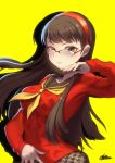 1girl amagi_yukiko bangs breasts brown_hair cardigan collarbone commentary contrapposto floating_hair gaothun glasses hairband hand_on_own_stomach hand_up highres houndstooth large_breasts long_hair long_sleeves looking_at_viewer neckerchief parted_lips persona persona_4 red_cardigan red_shirt school_uniform serafuku shadow shirt signature smile solo teeth upper_body yellow_background