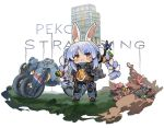 1girl animal_ear_fluff animal_ears black_footwear blue_hair blue_jumpsuit blush bow braid carrot_hair_ornament chibi closed_mouth commentary_request death_stranding food_themed_hair_ornament frown ground_vehicle hair_bow hair_ornament hololive itsuki_tasuku jumpsuit long_hair motor_vehicle motorcycle multicolored_hair rabbit_ears red_eyes shoes sidelocks solo standing sweat twin_braids twintails two-tone_hair usada_pekora very_long_hair white_background white_bow white_hair