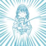 1boy 1girl artist_request blue_theme closed_eyes commentary_request crying emphasis_lines flying_sweatdrops fukumaru_koito highres hug idolmaster idolmaster_shiny_colors long_sleeves medium_hair monochrome p-head_producer twintails upper_body white_background