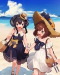 2girls alternate_costume anchor bag beach black_eyes black_hair blue_dress blue_sky brown_eyes brown_hair clouds commentary_request day dress feet_out_of_frame hat headset highres holding_hands kantai_collection lowleg lowleg_pantyhose mountain multiple_girls official_alternate_costume open_mouth outdoors pantyhose round_teeth short_hair short_hair_with_long_locks sidelocks sky speaking_tube_headset straw_hat sun_hat sundress teeth tokitsukaze_(kantai_collection) upper_teeth white_dress yoshino_ns yukikaze_(kantai_collection)