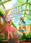 2girls :d animal aqua_hair artist_name bare_shoulders basket blue_eyes blue_ribbon bow brown_gloves bug butterfly carrying collarbone commentary day dress eirika_(fire_emblem) english_commentary fire_emblem fire_emblem:_radiant_dawn fire_emblem:_the_sacred_stones flower garden gardening gloves greenhouse grey_hair hair_bow hat high_heels highres holding holding_scissors insect july kaze-hime lens_flare light_rays long_hair micaiah_(fire_emblem) multiple_girls off-shoulder_dress off_shoulder open_mouth pink_dress pink_footwear plant potted_plant red_bow ribbon scissors short_sleeves sidelocks slippers smile sun_hat white_gloves yellow_dress yellow_eyes