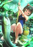 1girl :o abo_(kawatasyunnnosukesabu) animal animal_ears barefoot basket between_legs black_cat black_hair blue_nails blue_swimsuit braid cat cat_ears commentary_request day dutch_angle fake_animal_ears fish fishing fishing_rod frog green_eyes highres holding holding_fishing_rod long_hair nail_polish one-piece_swimsuit original outdoors river school_swimsuit sidelocks sitting sitting_on_rock solo swimsuit toenail_polish tree twin_braids