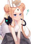 1girl abigail_williams_(fate/grand_order) abigail_williams_(swimsuit_foreigner)_(fate) bangs bare_shoulders black_cat blonde_hair blue_eyes braid braided_bun breasts cat double_bun dress_swimsuit fate/grand_order fate_(series) forehead highres itsumi_mita keyhole leaning_forward long_hair mitre parted_bangs pout sidelocks small_breasts swimsuit twintails very_long_hair white_headwear white_swimsuit
