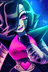 1boy artist_name bangs black_hair blue_background commentary english_commentary fangs hair_over_one_eye hand_up happy heart highres holding looking_at_viewer male_focus mettaton mettaton_ex microphone open_mouth pink_eyes robot shiny shiny_hair short_hair smile solo spacecolonie sparkle teeth undertale upper_body watermark