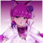 1girl animal_ears bangs blush bow cat_ears cat_girl cure_macaron earrings elbow_gloves eyebrows_visible_through_hair fake_animal_ears food_themed_hair_ornament gloves gradient gradient_background h26r hair_ornament holding holding_clothes holding_panties holding_underwear jewelry kirakira_precure_a_la_mode long_hair looking_at_viewer macaron_hair_ornament panties precure presenting_panties purple_background purple_bow purple_hair purple_panties shiny shiny_hair shirt short_sleeves solo triangle_mouth underwear upper_body very_long_hair violet_eyes white_gloves white_shirt