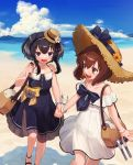 2girls alternate_costume anchor bag beach black_eyes black_hair blue_dress blue_sky brown_eyes brown_hair clouds commentary_request day dress feet_out_of_frame hat headset highres holding_hands kantai_collection mountain multiple_girls ocean official_alternate_costume open_mouth outdoors round_teeth sandals short_hair short_hair_with_long_locks sidelocks sky smile speaking_tube_headset straw_hat sun_hat sundress teeth tokitsukaze_(kantai_collection) upper_teeth water white_dress yoshino_ns yukikaze_(kantai_collection)