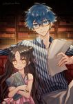 1boy 1girl age_difference bangs black-framed_eyewear blue_eyes blue_hair book brown_hair closed_mouth collared_shirt commentary_request eyebrows_visible_through_hair eyelashes facial_mark fate/grand_order fate_(series) forehead_mark glasses hans_christian_andersen_(fate) highres holding holding_book holding_paper indoors lindanyunyu long_hair looking_at_viewer paper parted_bangs parted_lips sesshouin_kiara sesshouin_kiara_(lily) shirt striped striped_shirt teeth vertical-striped_shirt vertical_stripes watermark yellow_eyes