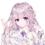 1girl ascot bangs bow braid brown_hair collared_shirt eyebrows_visible_through_hair hair_bow hands_in_hair hands_up long_hair long_sleeves looking_at_viewer original parted_lips shirt solo violet_eyes white_bow white_neckwear white_shirt ymkrnchan