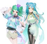 2girls :d bangs bare_shoulders belt blue_hair blue_nails blue_tongue brown_eyes character_request chinese_clothes claw_pose closed_mouth commentary_request copyright_request cowboy_shot double_bun dress fan fingernails green_hair hair_between_eyes hair_bun hair_ornament highres hip_vent holding holding_fan jewelry long_fingernails long_hair long_sleeves looking_at_viewer mouth_drool multiple_girls nail_polish neck_ring ohisashiburi open_mouth purple_belt red_eyes sharp_fingernails sharp_teeth short_hair shorts simple_background skirt sleeve_cuffs sleeveless sleeveless_dress smile teeth