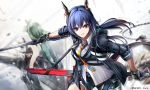 3girls arknights bangs bare_arms bare_shoulders black_gloves black_shorts blue_hair ch'en_(arknights) chain chi_xiao_(arknights) commentary_request dragon_horns dragon_tail fingerless_gloves gloves green_hair holding holding_sword holding_weapon horns hoshiguma_(arknights) long_hair looking_at_viewer multiple_girls necktie parted_lips red_eyes shirt short_shorts shorts single_horn swire_(arknights) sword tail weapon white_shirt wing_collar yellow_neckwear yokaze_(yokajie)