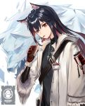 1girl absurdres animal_ears arknights black_hair black_shirt cigarette cigarette_box coat earrings fur_trim gloves highres holding id_card jewelry long_hair long_sleeves looking_at_viewer momosawa_nao multicolored_hair necklace open_clothes open_coat penguin_logistics_logo red_eyes red_gloves shirt smoking solo strap texas_(arknights) turtleneck two-tone_hair upper_body white_coat wolf_ears