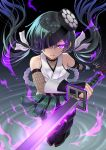 1girl black_hair eyepatch fate/grand_order fate_(series) fishnet_sleeves glowing glowing_eye glowing_sword glowing_weapon highres long_hair low_twintails mochizuki_chiyome_(fate/grand_order) ninjatou reverse_grip short_sword sword twintails violet_eyes weapon youshuu