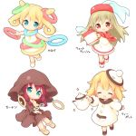 4girls :d ^_^ aikei_ake bangs bare_arms bare_shoulders blonde_hair blue_eyes blush boots brown_dress brown_eyes brown_footwear brown_hair chibi closed_eyes closed_mouth commentary_request dress eyebrows_visible_through_hair hair_between_eyes hat highres holding long_hair long_sleeves looking_at_viewer multiple_girls open_mouth original outstretched_arm personification puffy_long_sleeves puffy_sleeves purple_hair red_headwear red_neckwear shoes simple_background sleeveless sleeveless_dress sleeves_past_wrists smile sparkle standing standing_on_one_leg teapot tilted_headwear translation_request twintails veil very_long_hair white_background white_dress white_footwear white_headwear wide_sleeves