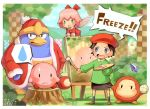 2girls adeleine artist_name beret black_hair blue_eyes bow day easel forest hair_bow hat highres holding holding_paintbrush king_dedede kirby kirby_(series) kirby_64 long_sleeves looking_at_another multiple_girls nature open_mouth outdoors paintbrush pink_hair red_bow ribbon_(kirby) sho.t short_hair sitting speech_bubble tree waddle_dee