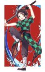 1boy :d absurdres adapted_costume black_footwear black_pants border brown_hair checkered chinese_clothes earrings facial_scar forehead_scar from_side highres holding holding_sword holding_weapon jewelry kamado_tanjirou katana kimetsu_no_yaiba leg_lift looking_at_viewer makura_(makura0128) male_focus open_mouth outstretched_hand pants pose red_background salute scar smile solo standing standing_on_one_leg sword two-finger_salute weapon white_border