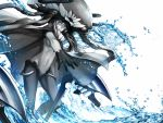 1girl black_cape black_hair blue_eyes cape gloves glowing glowing_eyes grey_skin hat headgear kantai_collection long_hair manjyufroth navel pale_skin shinkaisei-kan silver_hair solo standing tentacles water white_background wo-class_aircraft_carrier