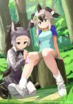2girls animal_ears antenna_hair autism_wanderer bare_arms bare_legs bike_shorts black_eyes black_hair boots bow bowtie brown_hair closed_mouth clothes_writing collarbone collared_shirt company_name copyright cuts day donkey_(kemono_friends) donkey_ears donkey_tail dutch_angle eyebrows_visible_through_hair forehead full_body furrowed_eyebrows grass greater_roadrunner_(kemono_friends) green_eyes grey_hair hair_between_eyes hair_tubes hand_on_another's_leg handkerchief high_ponytail highres injury kemono_friends kneeling leaf leaf_on_head long_hair long_sleeves looking_at_another looking_down medium_hair multicolored_hair multiple_girls official_art outdoors pantyhose shirt shoes short_sleeves sidelocks sitting skirt smile socks t-shirt tail tree tree_stump vest watermark wing_collar