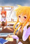 2girls blonde_hair blue_eyes blush classroom embarrassed fate_testarossa highres kerorokjy long_hair looking_at_another love_letter lyrical_nanoha mahou_shoujo_lyrical_nanoha mahou_shoujo_lyrical_nanoha_a's multiple_girls open_mouth orange_hair pen red_eyes school_uniform shy side_ponytail sunset table takamachi_nanoha uniform very_long_hair window writing yuri