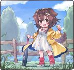 1girl animal_ears baseball_bat blue_sky bone_hair_ornament bracelet brown_eyes brown_hair buttons cartoon_bone chibi clouds collar commentary_request dog_collar dog_ears dog_girl dog_tail dress eyebrows_visible_through_hair fang fence grass hair_ornament hairclip highres hololive inugami_korone jacket jewelry long_hair looking_at_viewer loose_socks low_twin_braids outdoors paw_print red_collar red_legwear sakino_shingetsu shoes short_dress side_braids sky sneakers socks solo tail tree virtual_youtuber white_dress wooden_fence wristband yellow_jacket