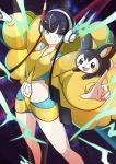 1girl absurdres bangs black_hair blue_eyes blunt_bangs breasts coat collarbone commentary_request emolga energy feet_out_of_frame fur_coat gen_5_pokemon gym_leader headphones highres holding holding_poke_ball index_finger_raised kamitsure_(pokemon) long_sleeves looking_to_the_side miyama-san outstretched_arms poke_ball poke_ball_(basic) pokemon pokemon_(creature) pokemon_(game) pokemon_bw2 shiny shiny_clothes short_hair_with_long_locks yellow_coat