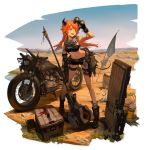 1girl :d ahoge alternate_costume alternate_hairstyle arknights arm_up armpits bandaged_arm bandages bandeau bangs bare_shoulders belt binoculars black_footwear black_gloves black_shorts boots braid breasts crate croissant_(arknights) crop_top cutoffs door fang fingerless_gloves flag gloves goggles goggles_around_neck green_eyes ground_vehicle hammer head_tilt highres holding holding_binoculars holding_hammer holding_weapon horns huanxiang_heitu leaning_forward long_hair looking_away medium_breasts midriff motor_vehicle motorcycle navel official_art open_mouth orange_hair outdoors shadow short_shorts shorts sleeveless smile solo standing stomach sweat thigh_strap thighs transparent_background twin_braids weapon