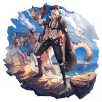 3boys abs adjusting_clothes adjusting_hat animal_ears arknights axe bangs bird black_cape black_footwear black_gloves black_pants blue_sky boots brown_hair cape clouds courier_(arknights) day feathers gloves grey_eyes hair_between_eyes hand_up hat hat_feather highres holding horns jewelry leopard_ears male_focus matterhorn_(arknights) multiple_boys ocean official_art pants pendant red_tank_top ryuuzaki_ichi scabbard sheath sheathed shirt shirtless shorts silver_hair silverash_(arknights) sky smile standing sword tank_top telescope tenzin_(arknights) transparent_background tricorne water weapon white_shirt white_shorts