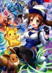 1girl absurdres bangs baseball_cap black_legwear bluebird_(bluebird90) blush breasts brown_hair cellphone charizard collarbone commentary_request dratini eevee electricity female_protagonist_(pokemon_go) fingerless_gloves fire gen_1_pokemon gloves gyarados happy hat highres holding holding_phone holding_poke_ball long_hair open_mouth orange_eyes phone pikachu poke_ball pokemon pokemon_(creature) pokemon_(game) pokemon_go ponytail shiny shiny_hair smile snorlax tongue