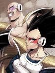2boys armor bald black_eyes black_hair blurry blurry_background closed_mouth commentary_request crossed_arms dragon_ball dragon_ball_z gloves kamimura_(gin_cpu) male_focus multiple_boys muscle nappa scouter teeth vegeta watermark white_gloves