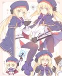 1girl artoria_pendragon_(all) artoria_pendragon_(caster) beret black_gloves black_legwear blonde_hair bow chibi chocolate cloak cup drooling fate/grand_order fate_(series) gloves green_eyes hat highres pantyhose saipaco smile spoken_squiggle squiggle staff steam twintails wavy_mouth