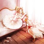1girl :o bird brown_hair commentary_request couch curtains dated dress eye_contact eyebrows_visible_through_hair finger_to_chin goose green_eyes hair_ornament hiyoya indoors long_hair looking_at_another original shoes tied_hair watermark white_dress white_legwear wooden_floor