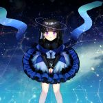 1girl absurdres bangs black_hair black_shirt blue_bow blue_hair blue_skirt bow breasts commentary_request constellation earrings eyebrows_visible_through_hair feet_out_of_frame frilled_skirt frills hands_on_lap highres jewelry long_hair long_sleeves looking_at_viewer mamel_27 medium_breasts multicolored_hair original parted_lips shirt sitting skirt solo two-tone_hair violet_eyes