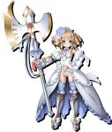 1girl axe blue_eyes blush breasts closed_mouth crown detached_sleeves dress drill_hair flower full_body gauntlets gloves greaves hair_flower hair_ornament hand_on_hip holding holding_weapon looking_at_viewer official_art platinum_blonde_hair pointy_ears puffy_short_sleeves puffy_sleeves queen's_blade queen's_blade_white_triangle short_hair short_sleeves single_gauntlet small_breasts smile solo tachi-e weapon white_dress white_gloves ymir_(queen's_blade)