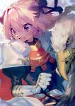 1boy armor astolfo_(fate) black_bow blush bow braid cloak fang fate/apocrypha fate/grand_order fate_(series) fur-trimmed_cloak fur_trim gauntlets gorget hair_bow hair_intakes happy long_braid long_hair long_sleeves male_focus mebaru multicolored_hair open_mouth otoko_no_ko pink_hair puffy_sleeves single_braid smile solo streaked_hair violet_eyes white_cloak