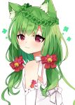 1girl animal_ear_fluff animal_ears bangs bell bow breasts cat_ears clover commentary dress eyebrows_visible_through_hair four-leaf_clover green_hair hair_bell hair_between_eyes hair_bow hair_ornament jingle_bell long_hair looking_at_viewer looking_to_the_side maki_soutoki original red_bow red_eyes simple_background small_breasts solo strapless strapless_dress symbol_commentary upper_body white_background white_bow white_dress
