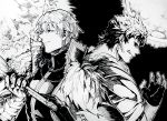 2boys armor back-to-back black_sclera caligula_(fate/grand_order) earrings fate/grand_order fate_(series) fingerless_gloves gawain_(fate/extra) gloves greyscale holding holding_weapon jewelry koryuu_(gackter10) male_focus monochrome moon multiple_boys short_hair sun sword weapon