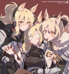3girls animal_ear_fluff animal_ears arknights aunt_and_niece bandages bandages_over_eyes black_gloves black_sweater blemishine_(arknights) blindfold blonde_hair blush bow breasts chain character_name cloak closed_mouth collar commentary dog_collar eyebrows_visible_through_hair fur-trimmed_cloak fur_trim gloves hair_between_eyes hair_bow headphones highres horse_ears kyou_039 long_hair looking_at_viewer medium_breasts multiple_girls nearl_(arknights) open_mouth orange_eyes patterned_clothing polka_dot polka_dot_background ponytail red_background ribbed_sweater siblings simple_background sisters smile sweater turtleneck turtleneck_sweater twitter_username upper_body whislash_(arknights) white_cloak yellow_eyes