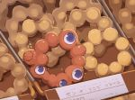 1other blue_eyes commentary doughnut expo2025 extra_eyes food looking_at_another mister_donut no_humans parody pon_de_ring sign sleeping solo tray yuushitessen zzz