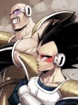 2boys armor bald black_eyes black_hair blurry blurry_foreground closed_mouth commentary_request crossed_arms dragon_ball dragon_ball_z gloves kamimura_(gin_cpu) male_focus multiple_boys muscle nappa scouter teeth vegeta watermark white_gloves