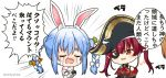2girls animal_ear_fluff animal_ears arrow_(projectile) arrow_through_heart bare_shoulders bicorne big_head black_gloves black_headwear blue_hair blush bodystocking braid chibi commentary_request detached_sleeves don-chan_(hololive) dress eighth_note emphasis_lines eyepatch fur-trimmed_gloves fur_trim gloves hat heart highres hololive houshou_marine long_hair miicha multicolored_hair multiple_girls musical_note nose_blush open_mouth puffy_short_sleeves puffy_sleeves rabbit_ears red_eyes red_shirt redhead shirt short_sleeves simple_background sleeveless sleeveless_shirt smile strapless strapless_dress thought_bubble translation_request twin_braids twintails twitter_username two-tone_hair usada_pekora virtual_youtuber wavy_mouth white_background white_dress white_hair white_sleeves